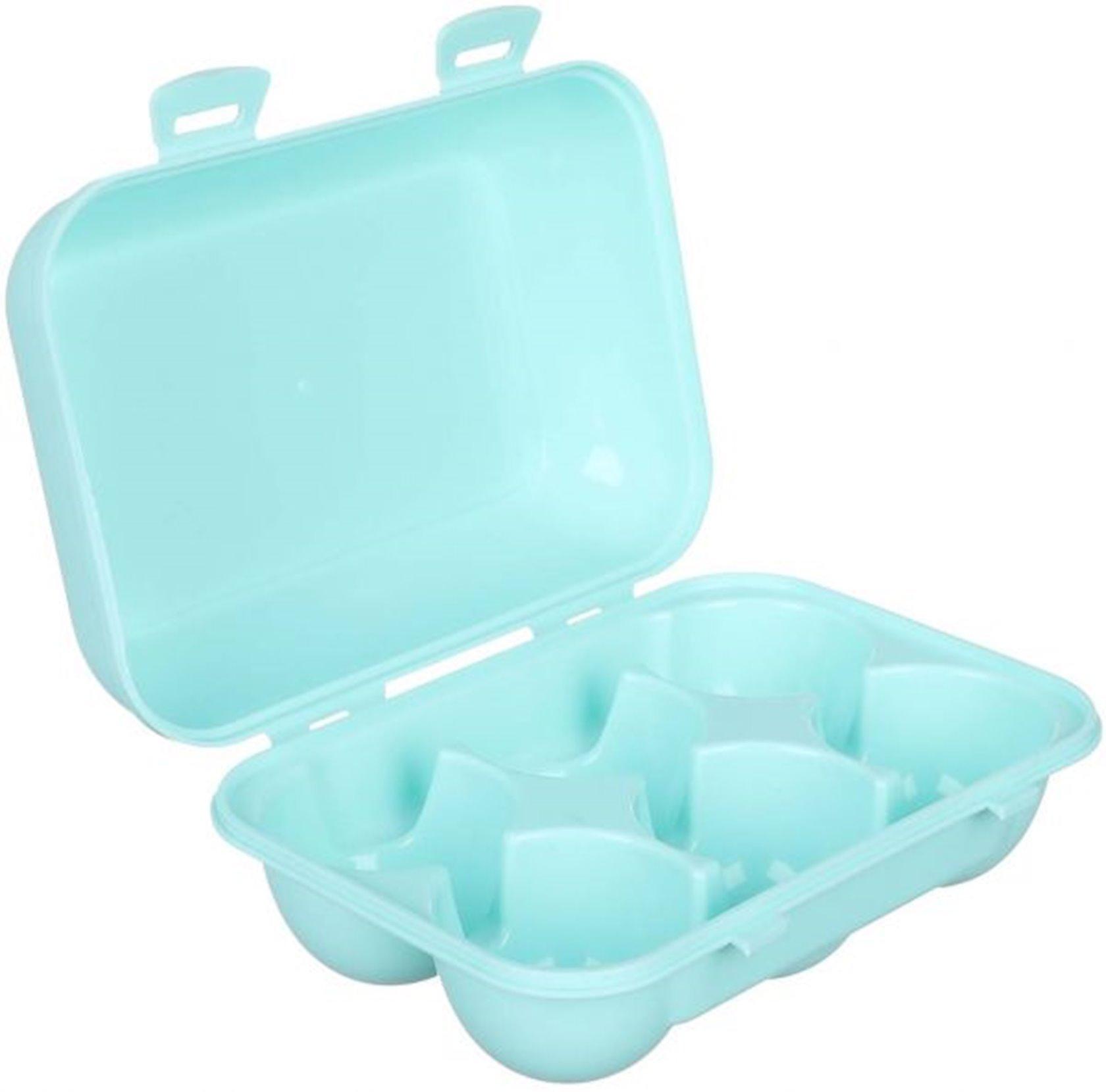 Yumurta saxlama konteyneri Qlux, 6 dəlik, rəng göy/çəhrayi/qara, material plastik