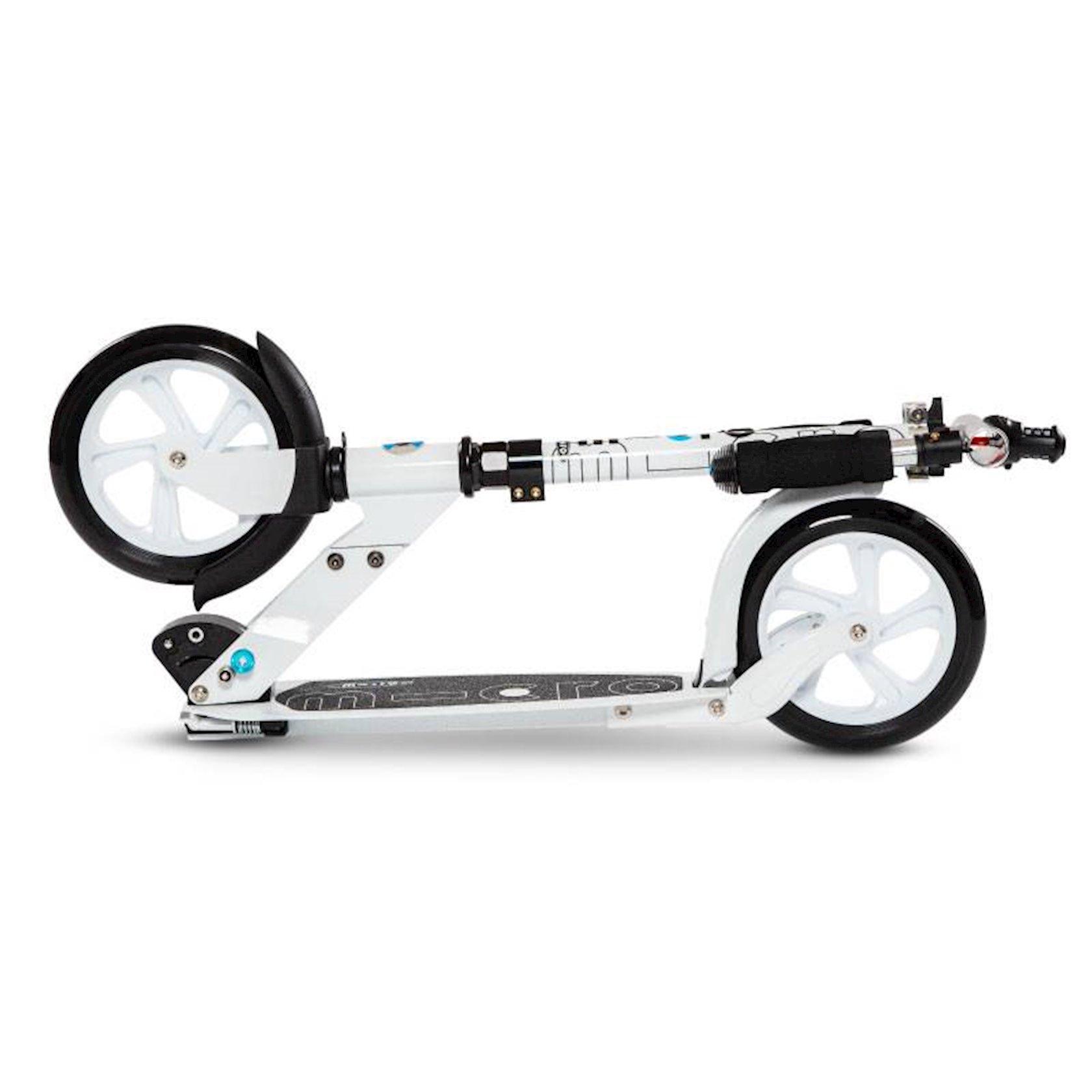 İki təkərli qatlanan samokat Micro White Interlock, ağ, alüminium, 18+ yaş, 73x12x72-103 sm, колеса 200 mm, 4700 q