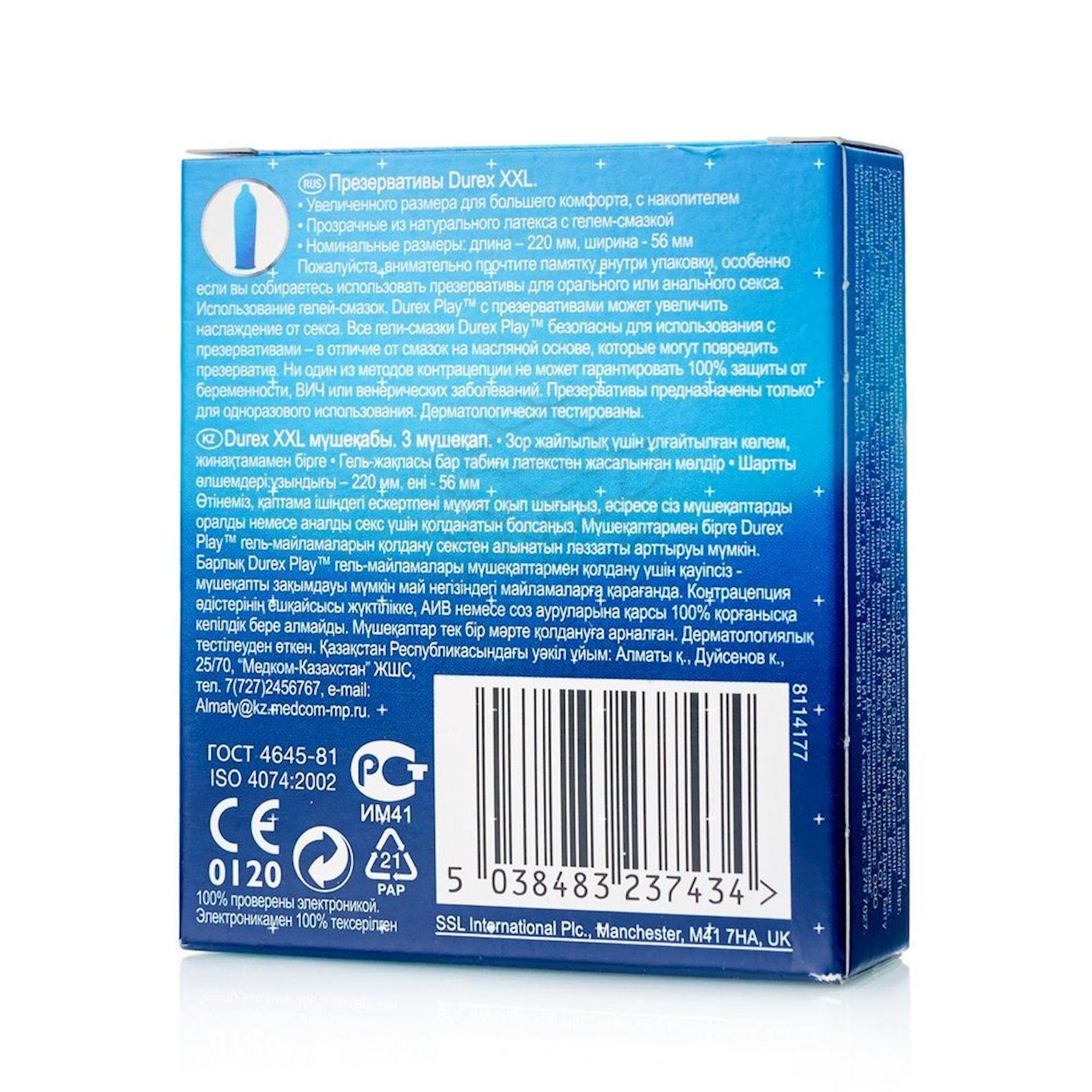Prezervativlər Durex XXL 3 ədəd