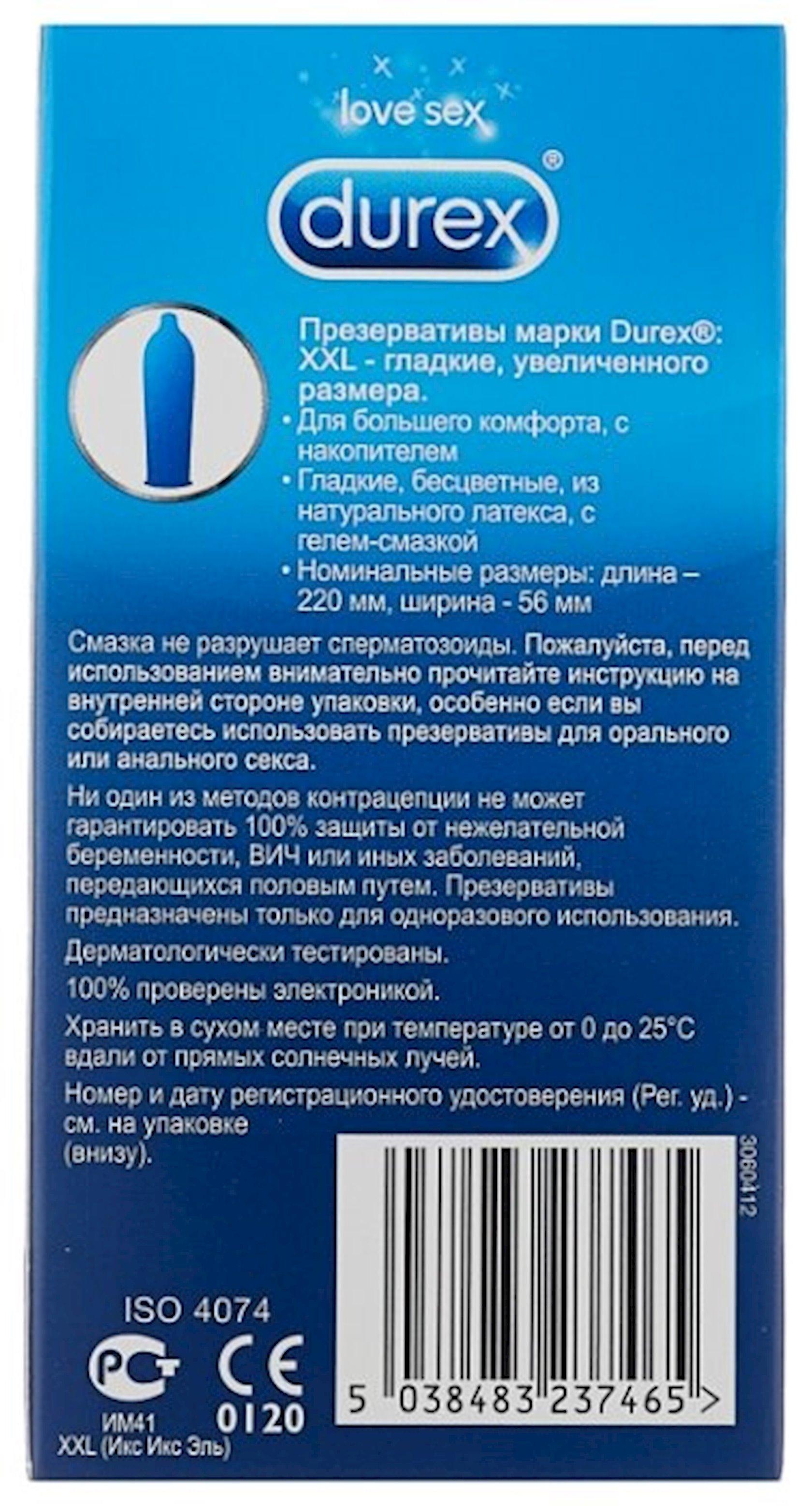 Prezervativlər Durex XXL 12 ədəd