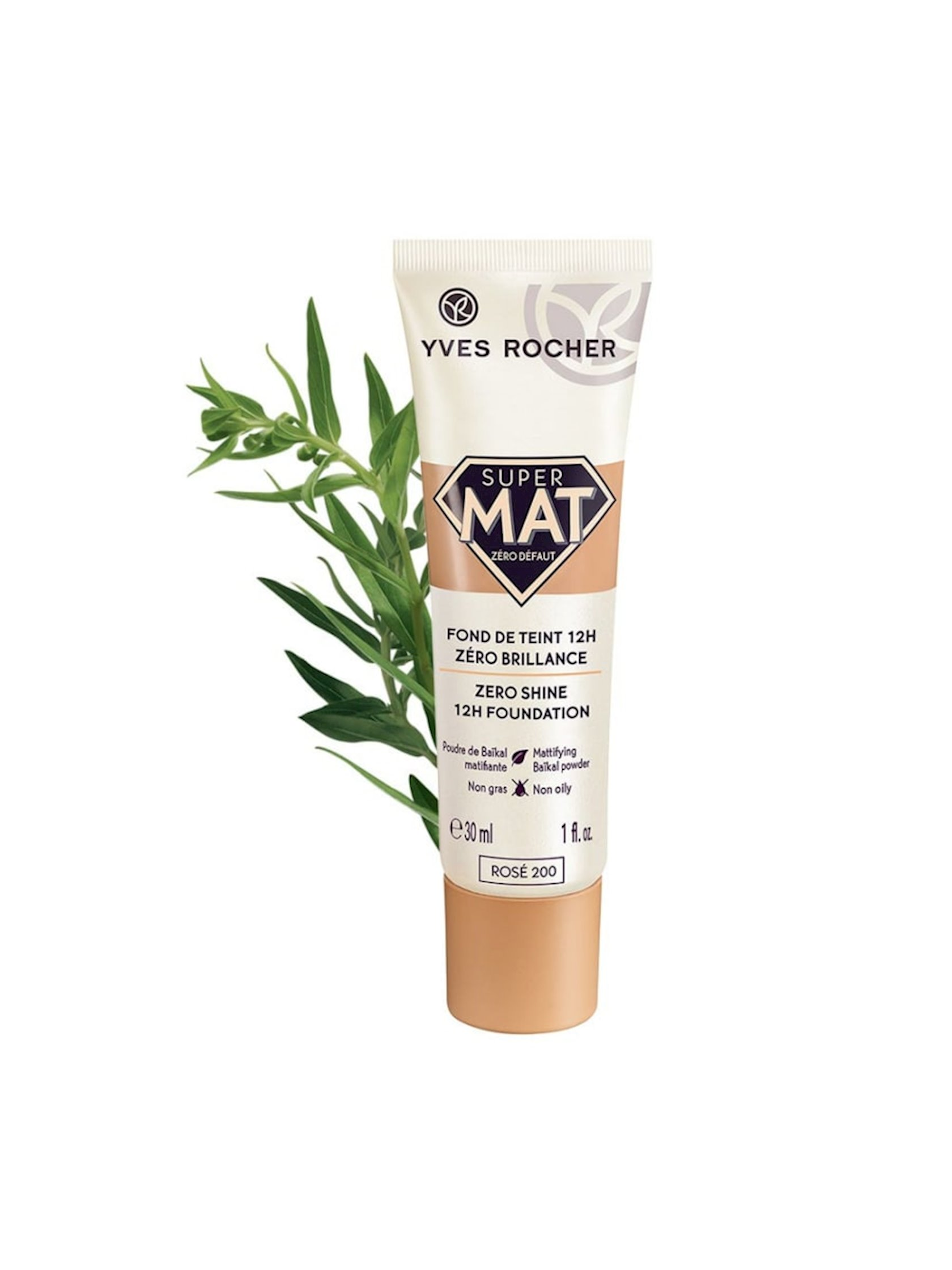Tonal krem Yves Rocher Zero Shine 12s çəhrayı 200, 30 ml