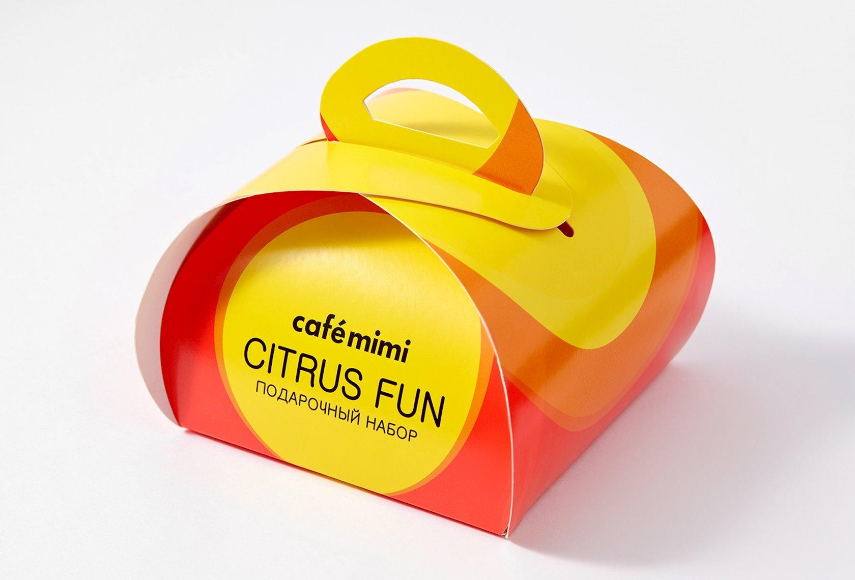 Hədiyyə dəsti Cafe Mimi Citrus Fun Gliserin sabunu 80 q + hamam üçün köpüklənən top 120 q
