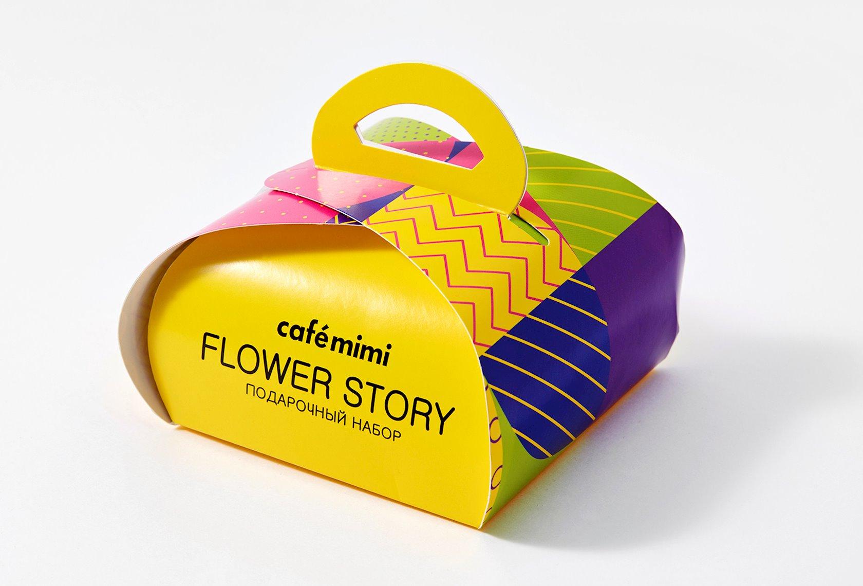 Hədiyyə dəsti Cafe Mimi Flower story Gliserin sabunu 80 q + hamam üçün köpüklənən top 120 q