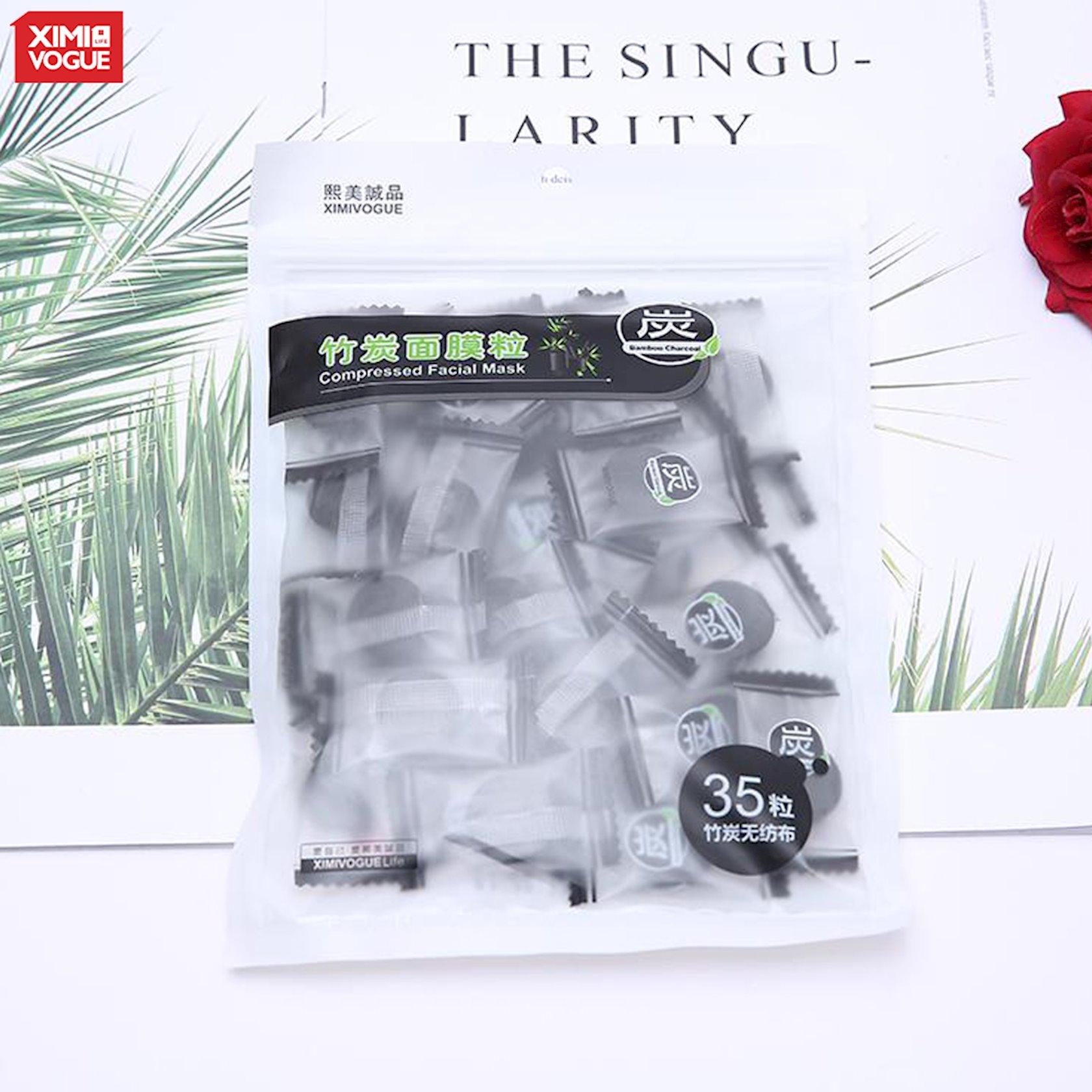 Üz üçün parça maska Ximivogue Bamboo Charcoal Compressed Facial Mask 35 əd