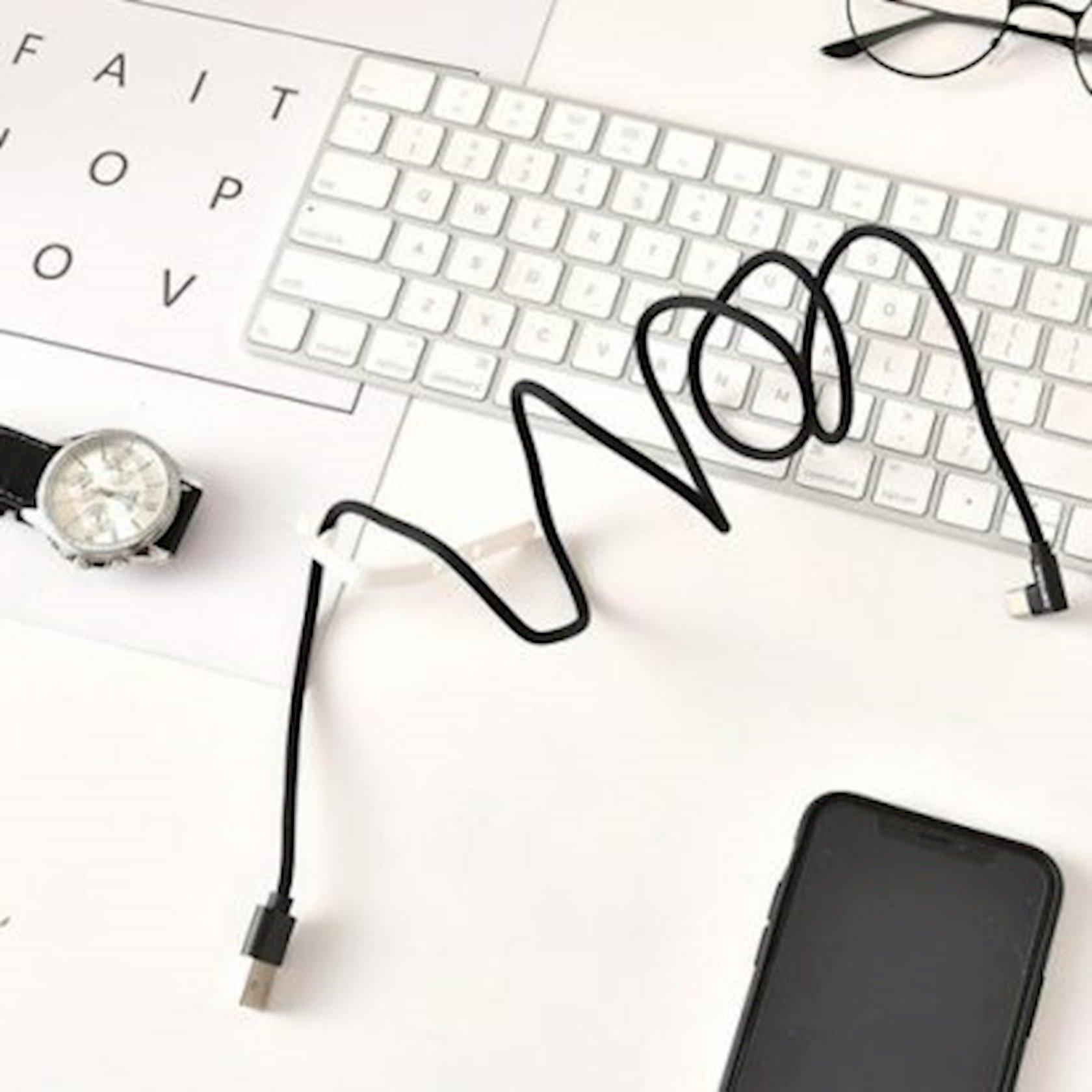 Kabel Ximivogue Cloth Braided Type-C Data Charging Cable Black