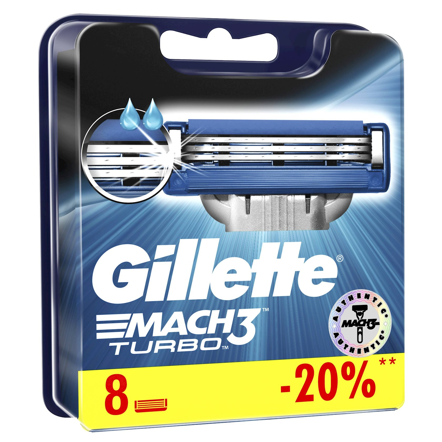 Dəyişdirilə bilən kassetlər Gillette Mach3 Turbo 8 ədəd