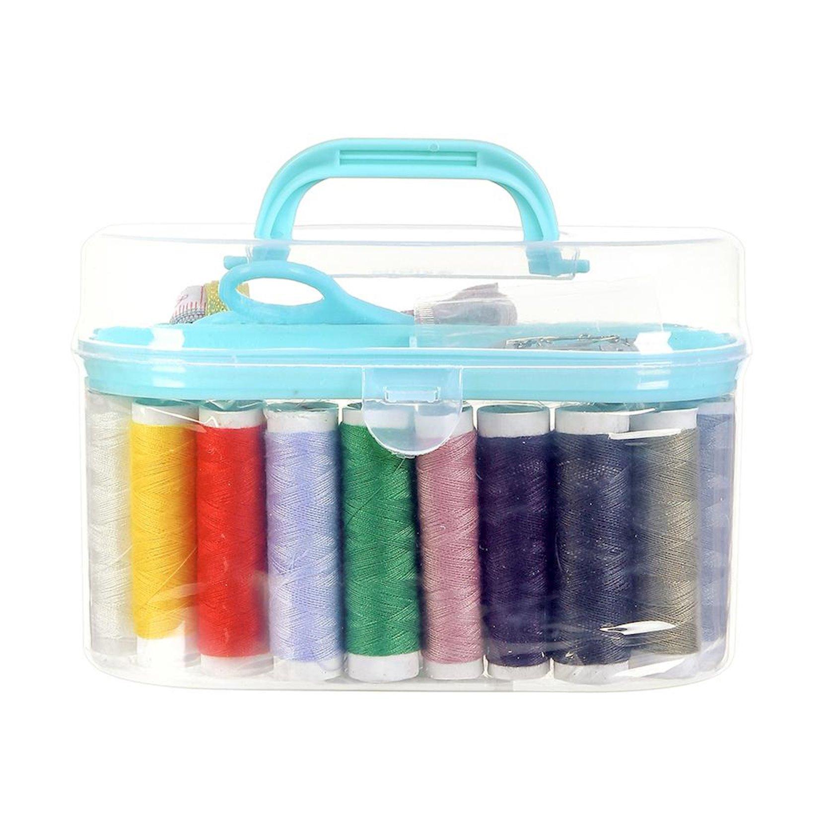 Tikiş dəsti Miniso Sewing Box, şəffaf/açıq yaşıl, 16x8.5x9.5 sm