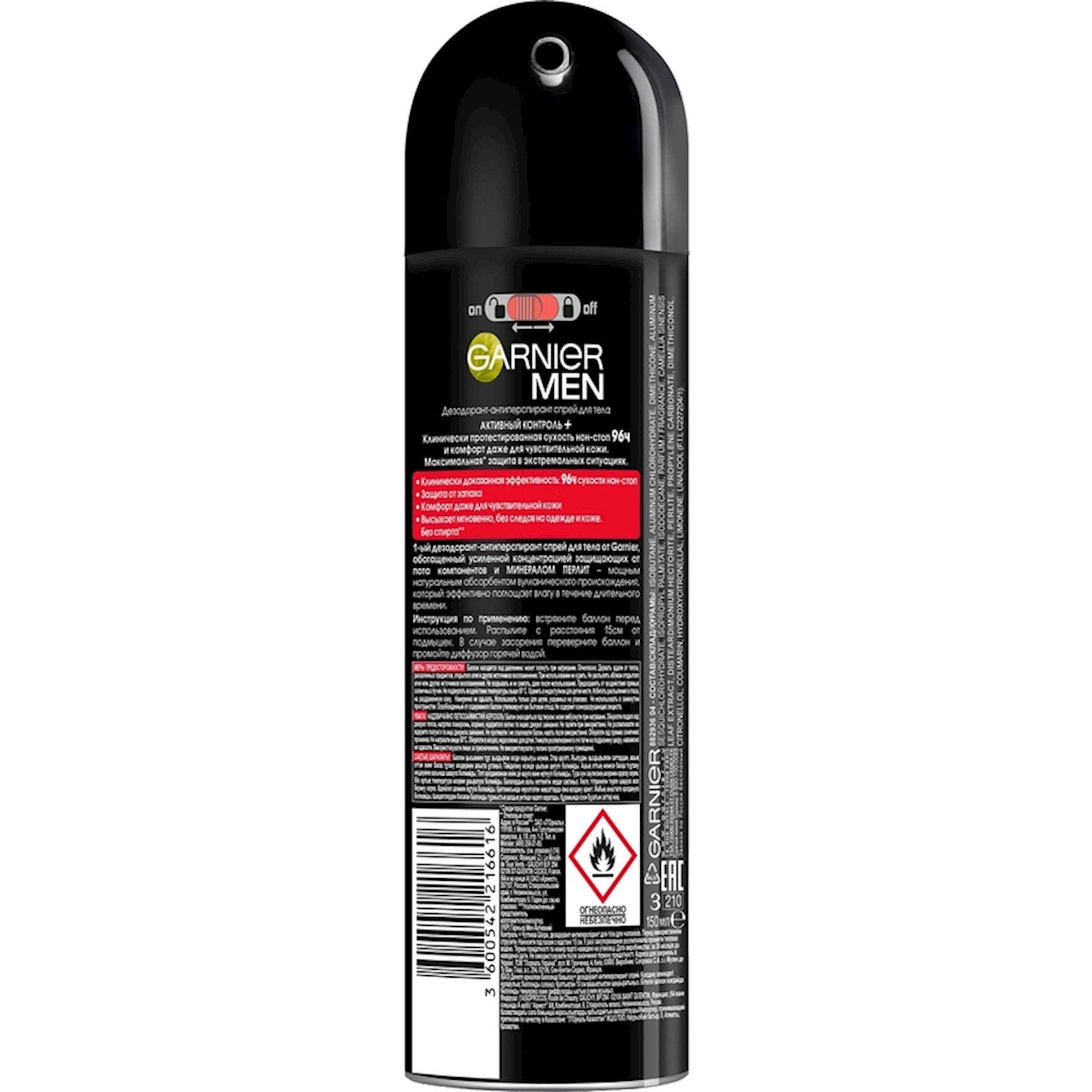 Dezodorant-sprey Garnier Men Expert, aktiv kontrol, 96 saat müdafiə, kişilər üçün, 150 ml