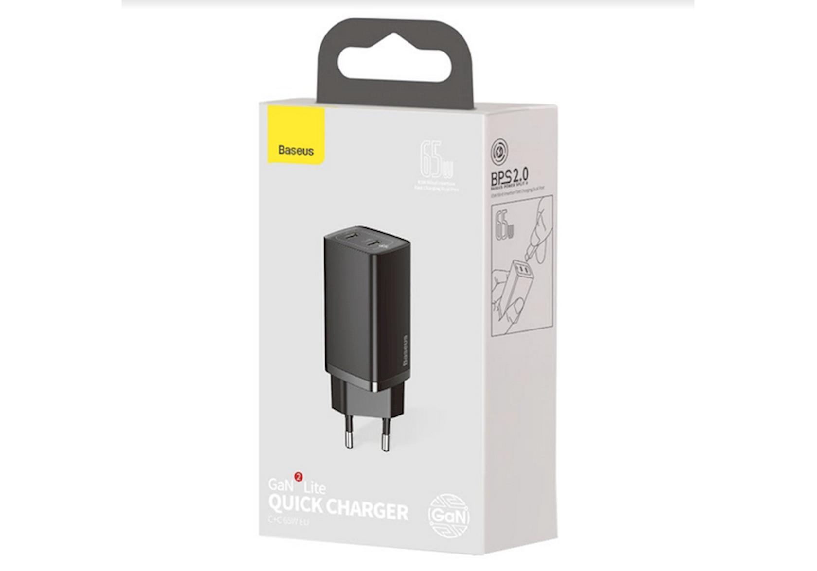 Enerji toplama cihazı Baseus GaN2 Lite Quick ChargerC C 65W EU CCGAN2L-E01 Black