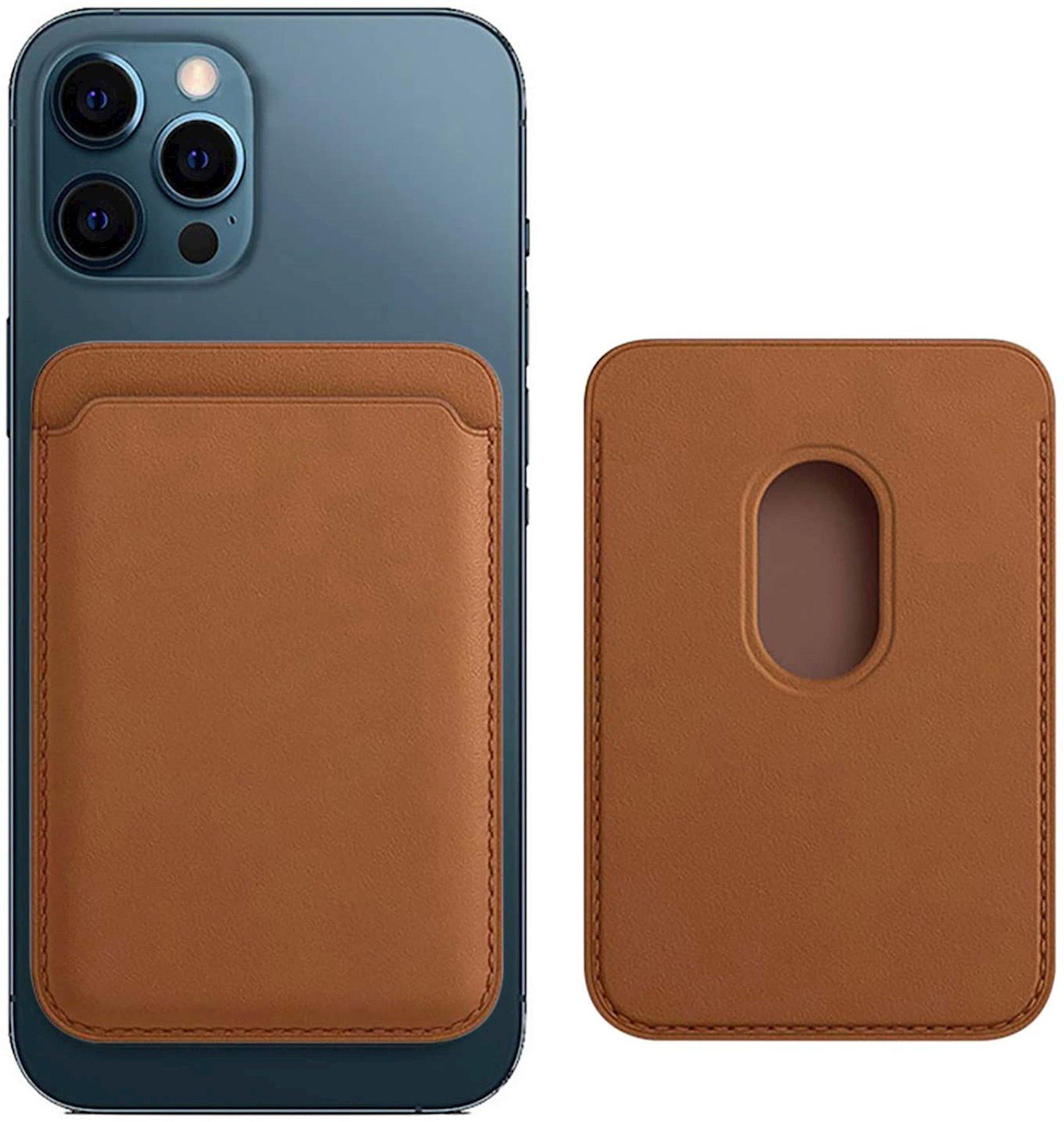 Dəri cib MagSafe Apple iPhone  12 Series üçün Saddle Brown