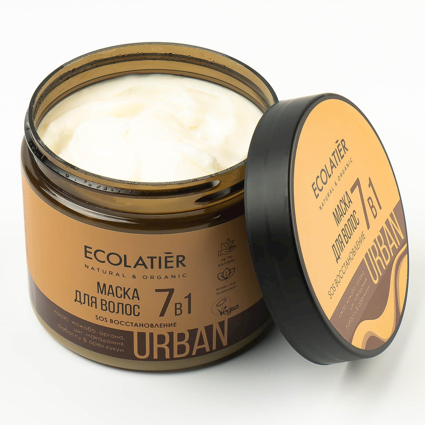 Maska saçlar üçün Ecolatier Urban SOS Bərpa 7si 1də kakao və jojoba 380 ml