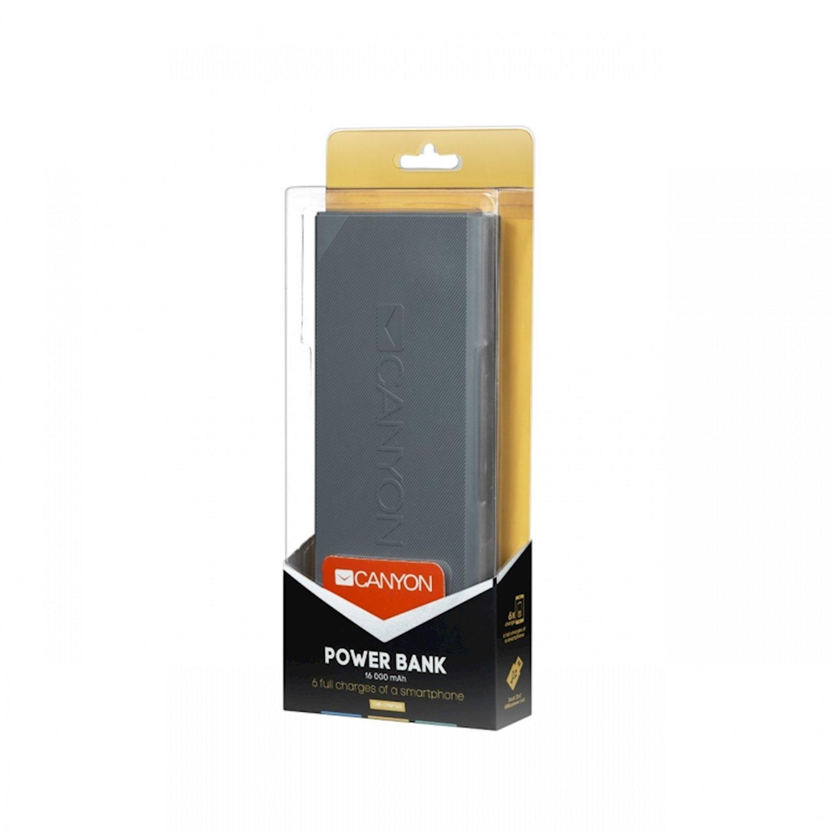 Universal mobil batareyası Canyon 16000mAh Tünd boz
