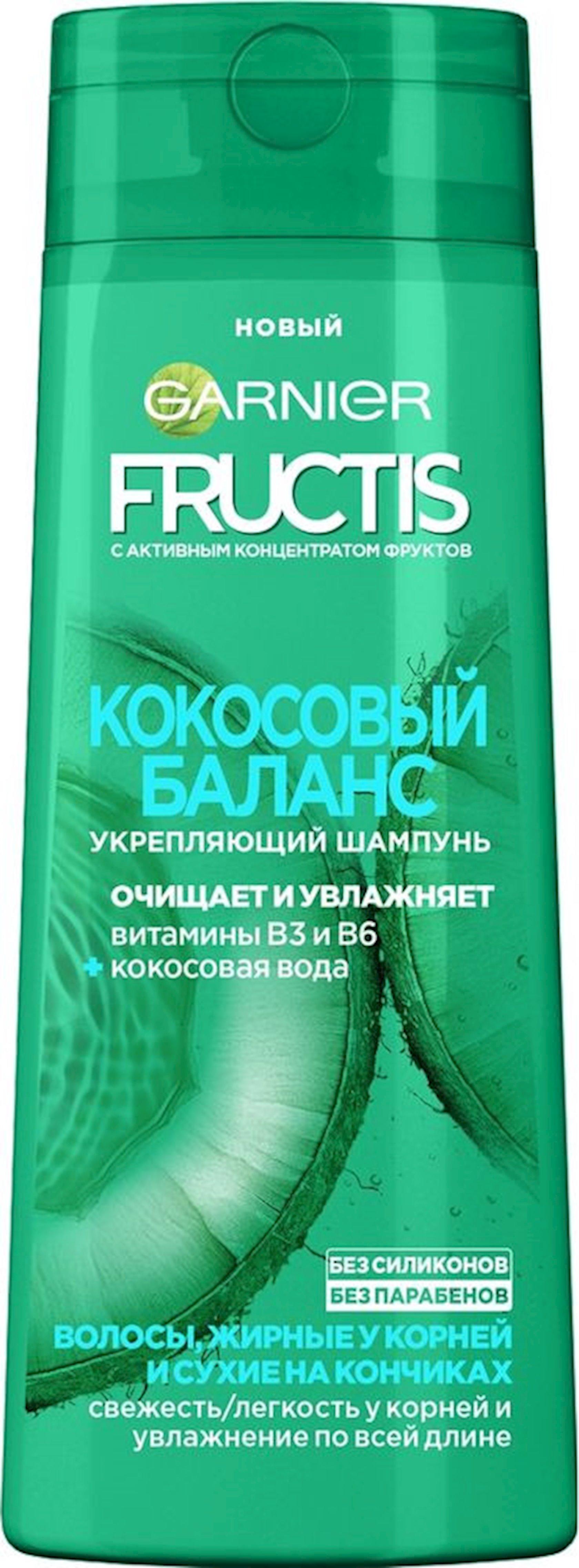 Şampun nəmləndirinin balansı köklərdə yağlı və uclarda quru saçlar üçün Fructis Garnier 400 ml
