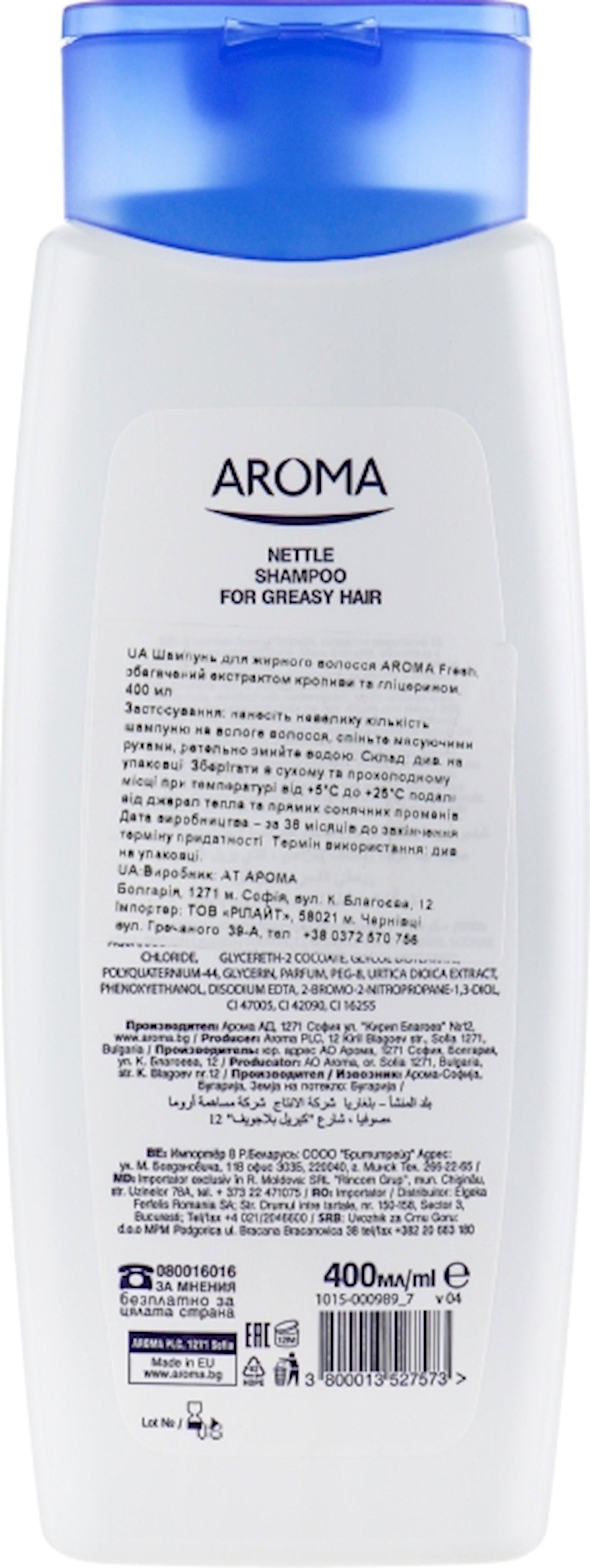 Şampun Aroma Fresh Nettle yağlı saçlar üçün 400 ml
