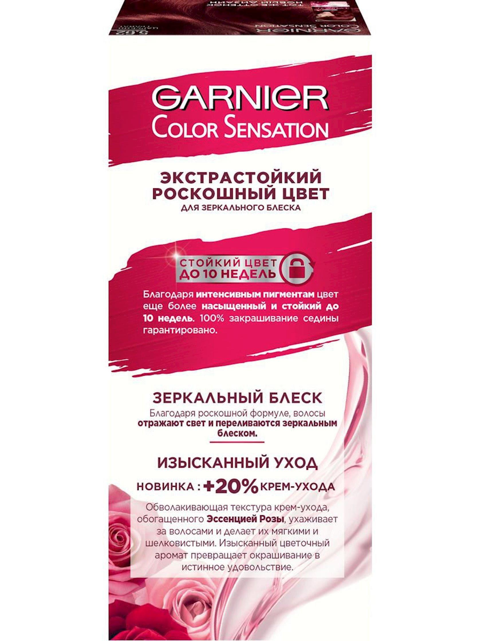 Saç üçün qalıcı krem-boya Garnier Color Sensation Dəbdəbəli rəng 5.62 Çar narı