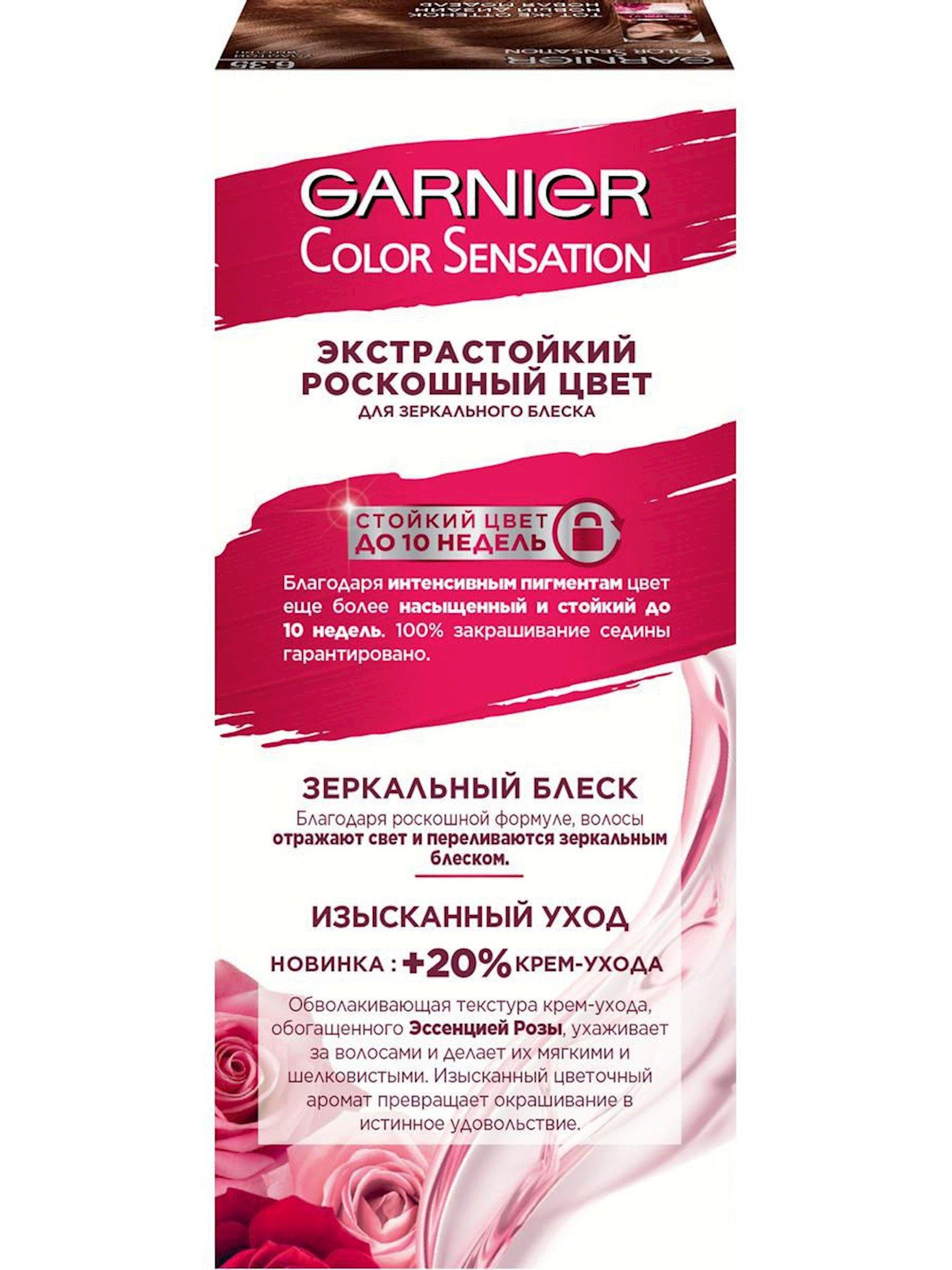 Saç üçün qalıcı krem-boya Garnier Color Sensation Dəbdəbəli rəng 6.35 Qızıl kəhrəba