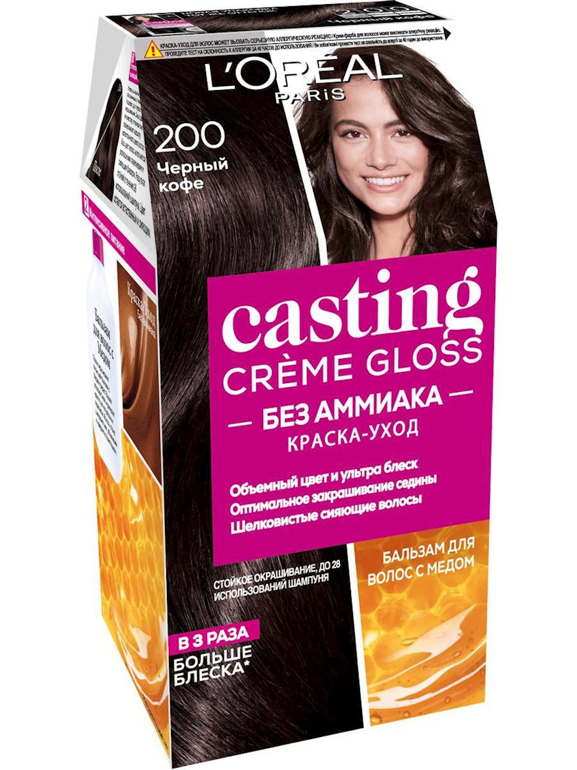 Saç üçün qalıcı krem-boya L'Oreal Paris Casting Creme Gloss ammonyaksız 100 Qara vanil