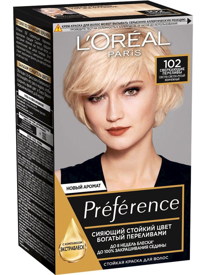 Saç üçün qalıcı krem-boya L'Oreal Paris Preference 102 Parlaq daşqınlar Çox açıq sarışın mirvariri