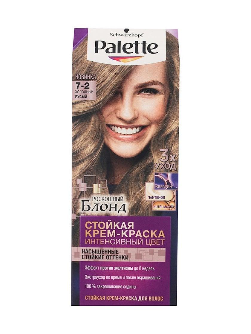 Saç üçün qalıcı krem-boya Palette Intensive Color 7.2 Soyuq sarışın