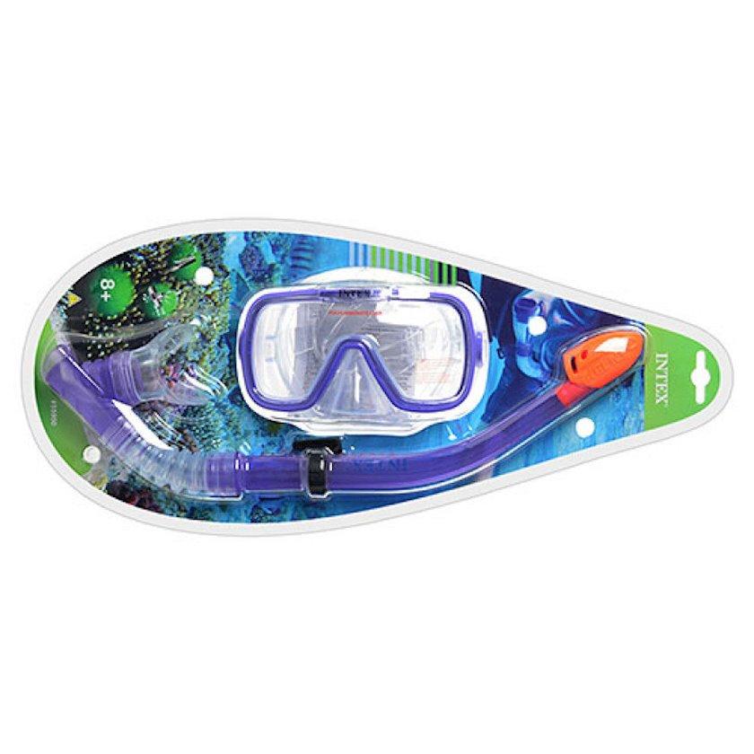 Üzgüçülük dəsti Intex 55950 Wave Rider, maska+boru, 8 yaşdan, bənövşəyi