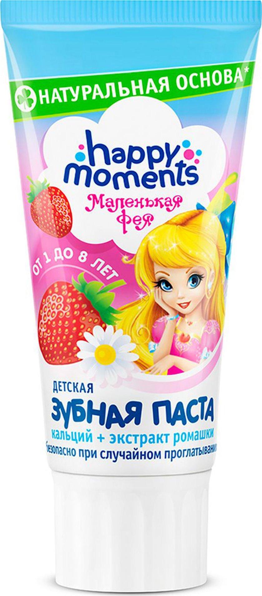 Diş pastası uşaqlar üçün Happy moments Маленькая Фея Mirvari gülüşü. Çiyələkli həyal, 60 ml