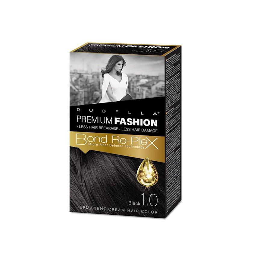 Saç üçün krem-boya Rubella Premium Fashion Bond Color Cream Hair 1.0 Qara 50 ml