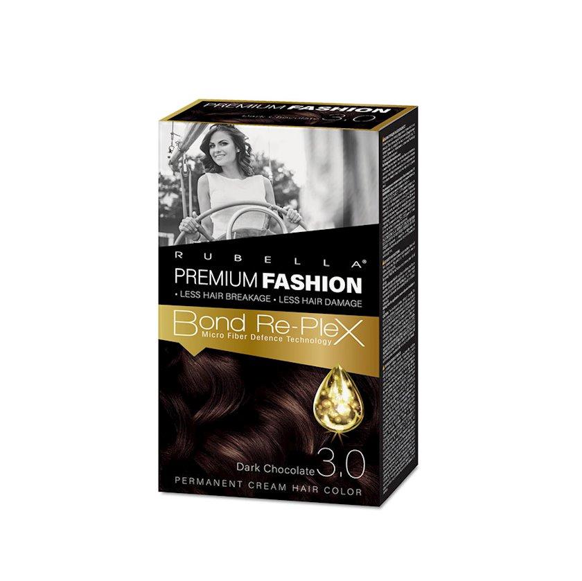 Saç üçün krem-boya Rubella Premium Fashion Bond Color Cream Hair 3.0 Tünd şokolad 50 ml