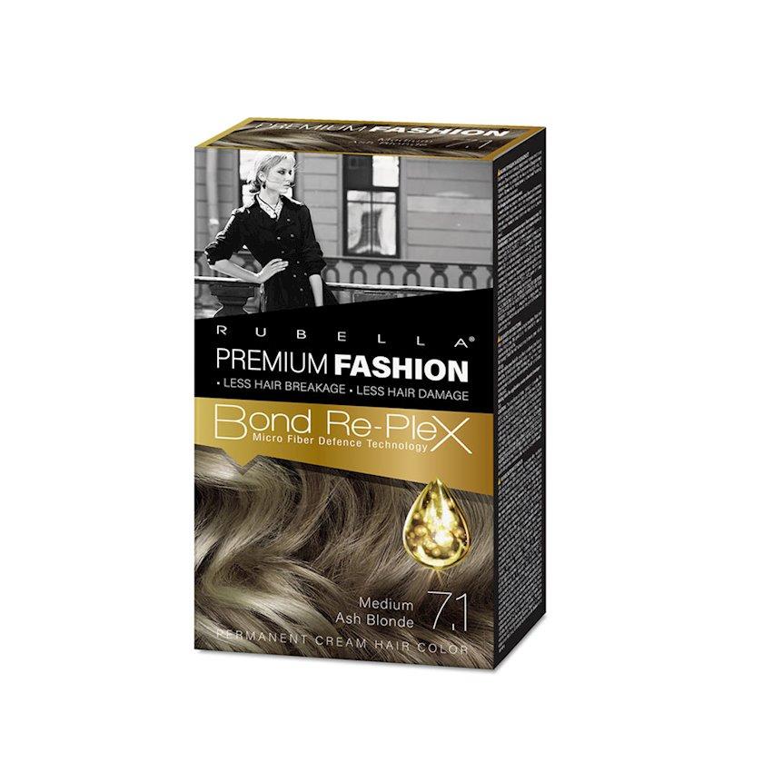 Saç üçün krem-boya Rubella Premium Fashion Bond Color Cream Hair 7.1 Orta-kül sarışın 50 ml