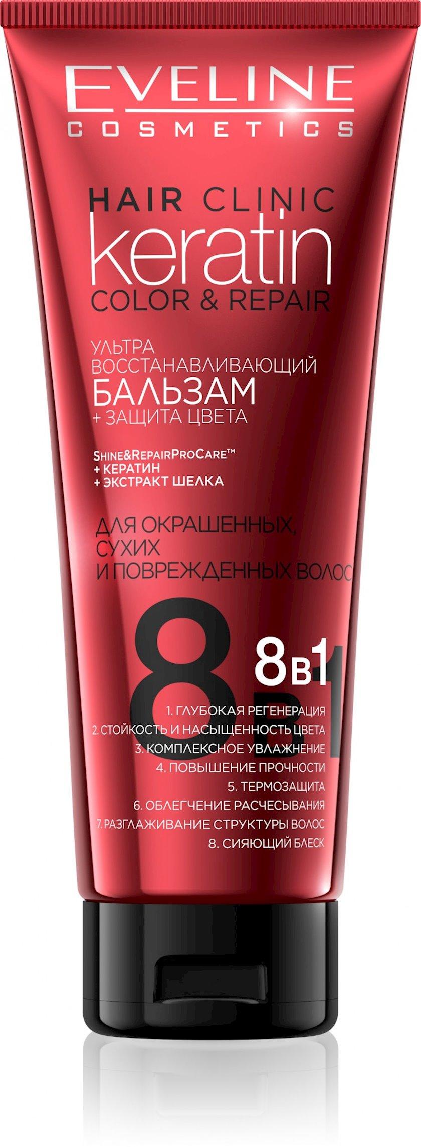 Saç üçün balzam Eveline Hair Clinic Keratin Color & Repair 8-1-də 250 ml