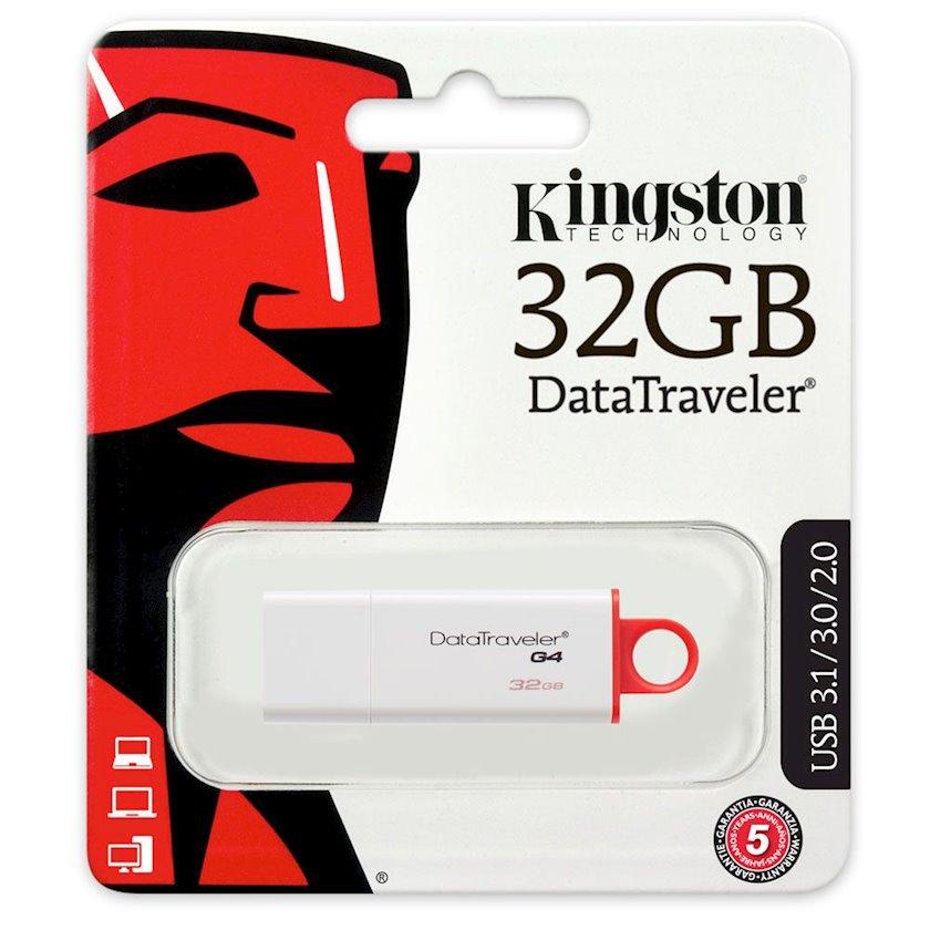 Flash yaddaş Kingston 32GB USB 3.0 DataTraveler I G4 White, Red
