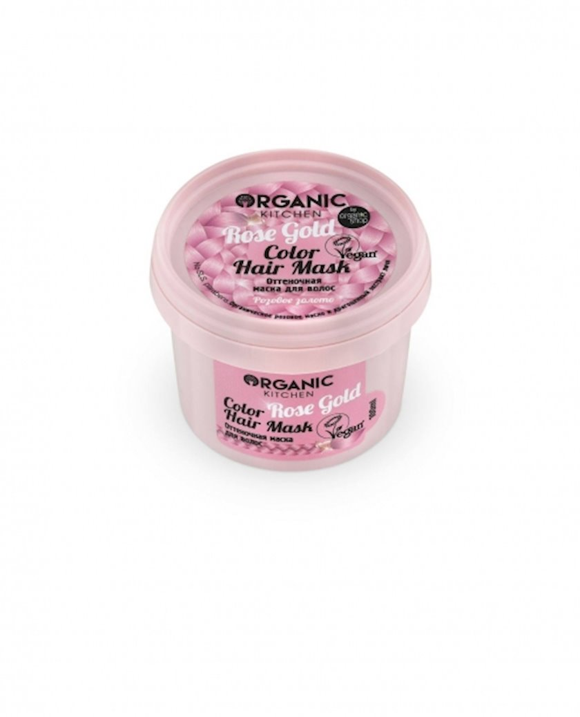Çalar maskası saçlar üçün Organic Shop Organic Kitchen Color Hair Mask Rose Gold 100ml