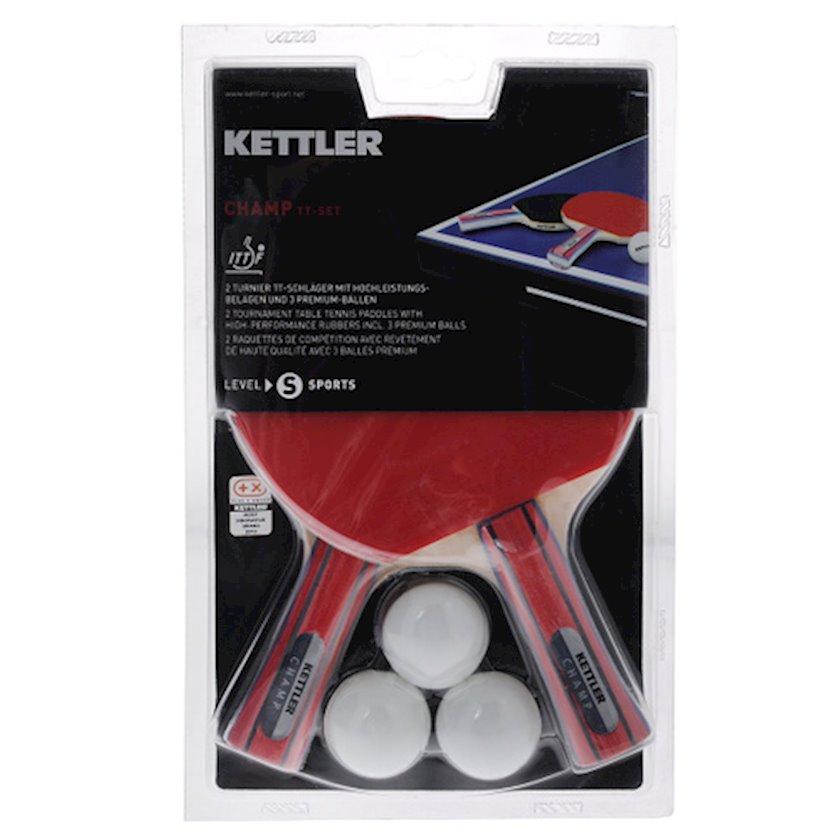 Stolüstü tennis dəsti Kettler Champ 7091-700KTL, dəstə daxildir: 2 raketka/3 top