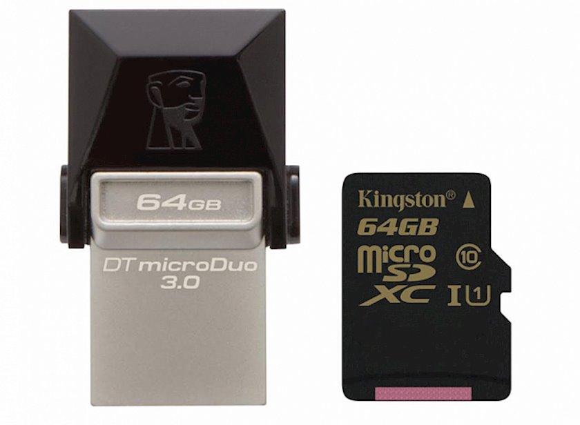 Flash yaddaş Kingston 64GB DT MicroDuo USB 3.0 + microUSB (Android/OTG)