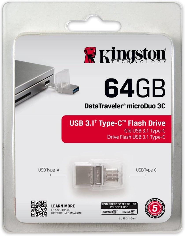 Flash yaddaş Kingston 64GB DT microDuo 3C, USB 3.0/3.1