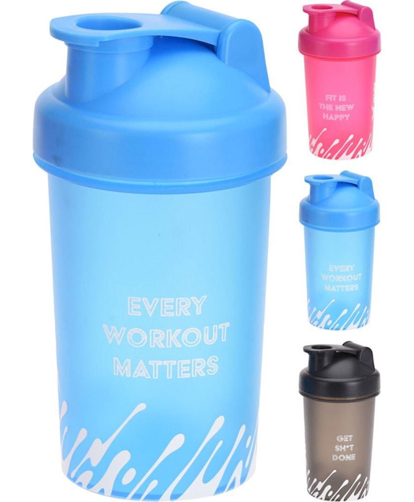 Su qabı Koopman Xqmax, plastik, 500 ml, qara, mavi, çəhrayı