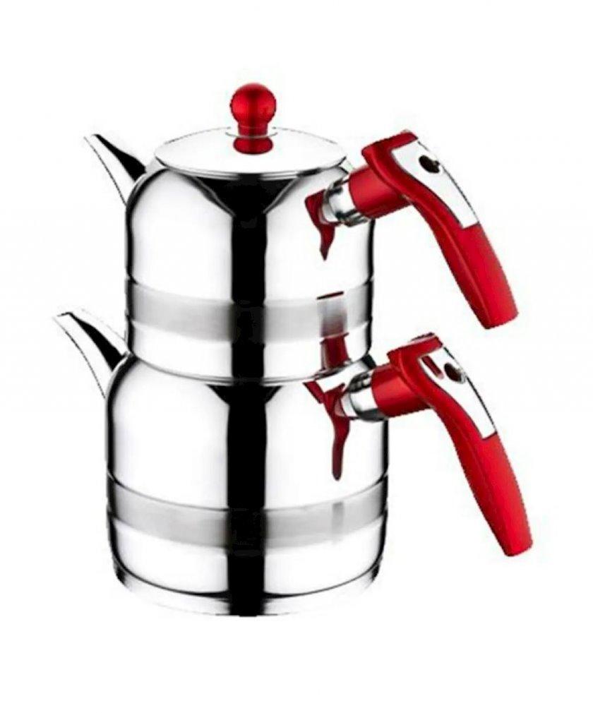 Çaydan dəm çaydanı ilə Kahramanlar, qırmızı, paslanmayan polad, 1 L, 1.5 L