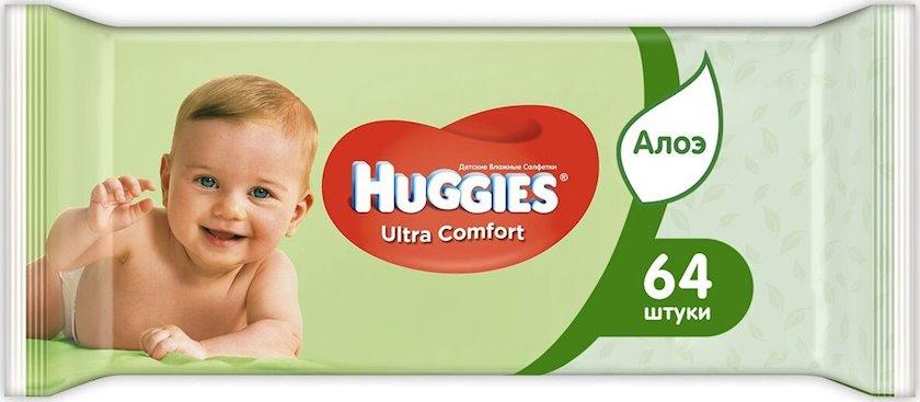 Huggies Ultra Comfort nəm salfetlər uşaq üçün, 64 ədəd