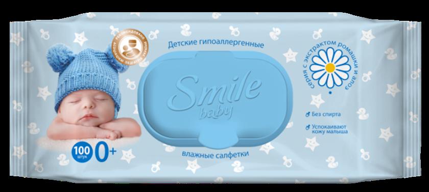 Smile nəm salfetlər uşaq üçün, 100 ədəd