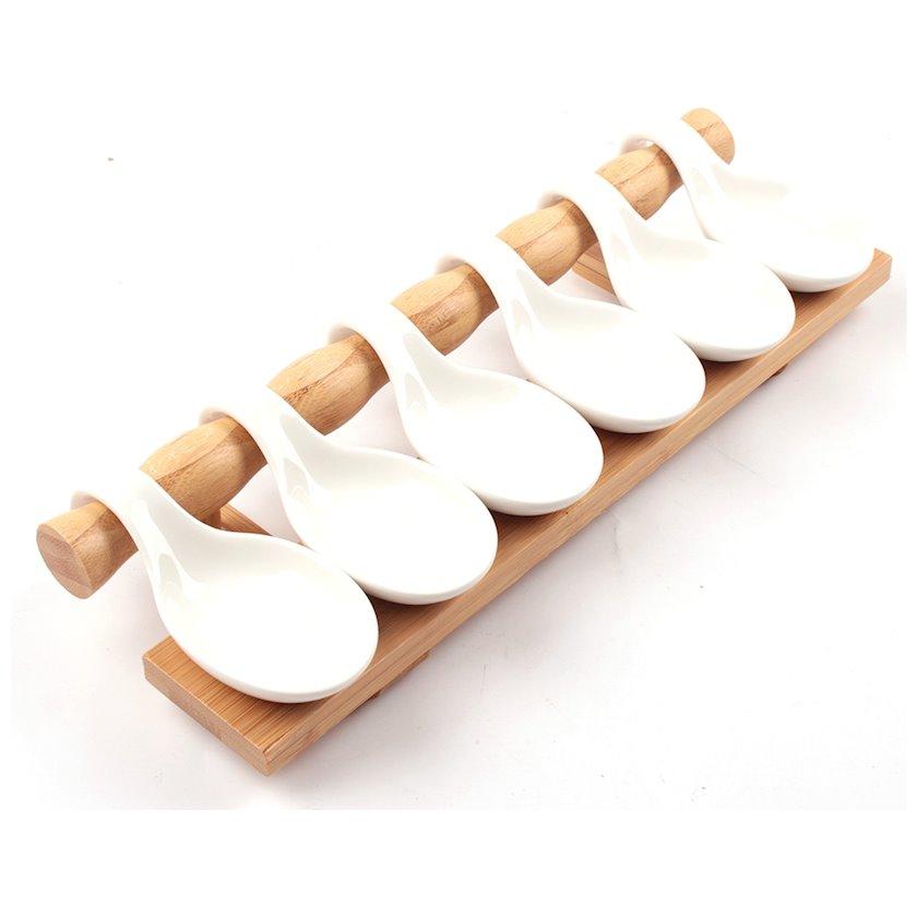 Sous qabları servis üçün Baku Home Decor, bambuk/keramika, 6 əd