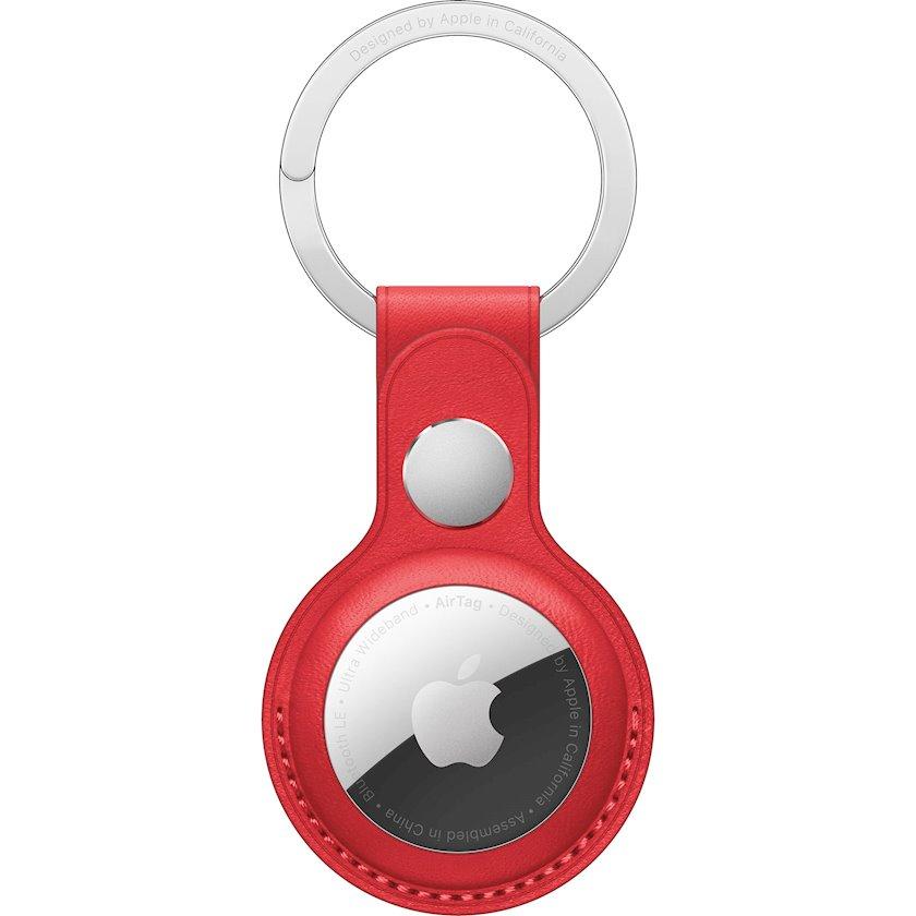 Çexol Apple treker üçün Apple AirTag Leather Key Ring Red
