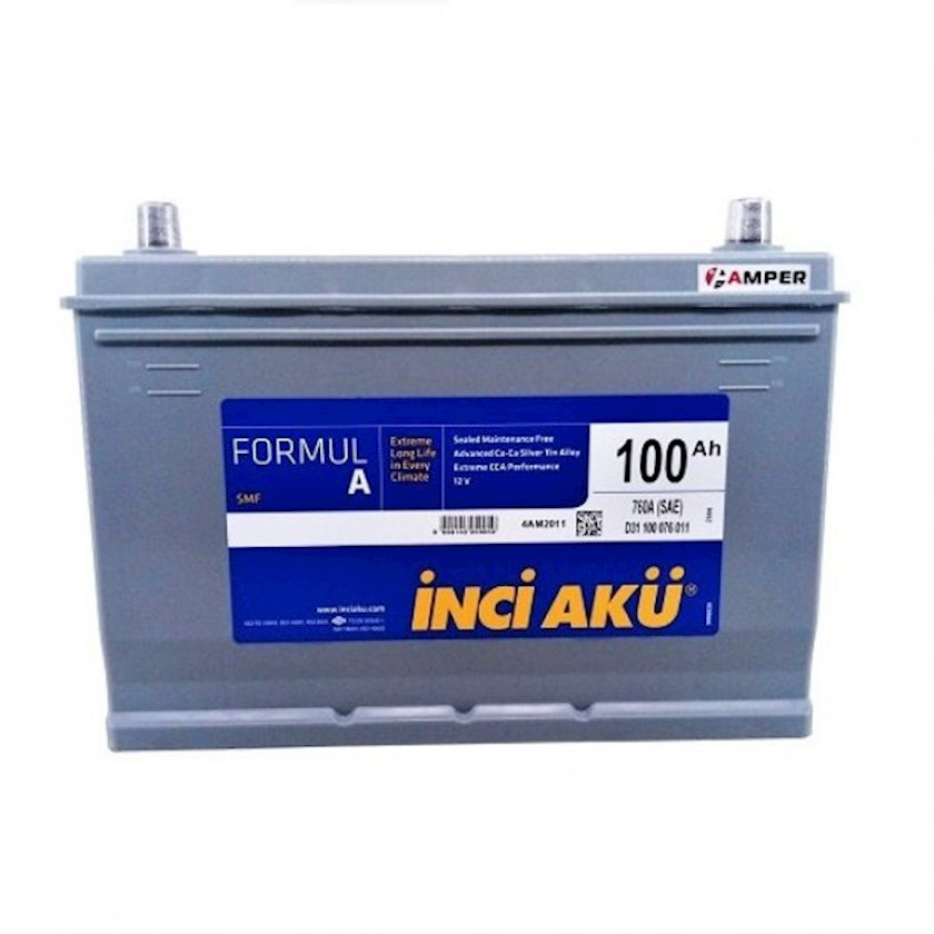 Akkumulator İnci Akü Formul A R+ 100Ah Boz