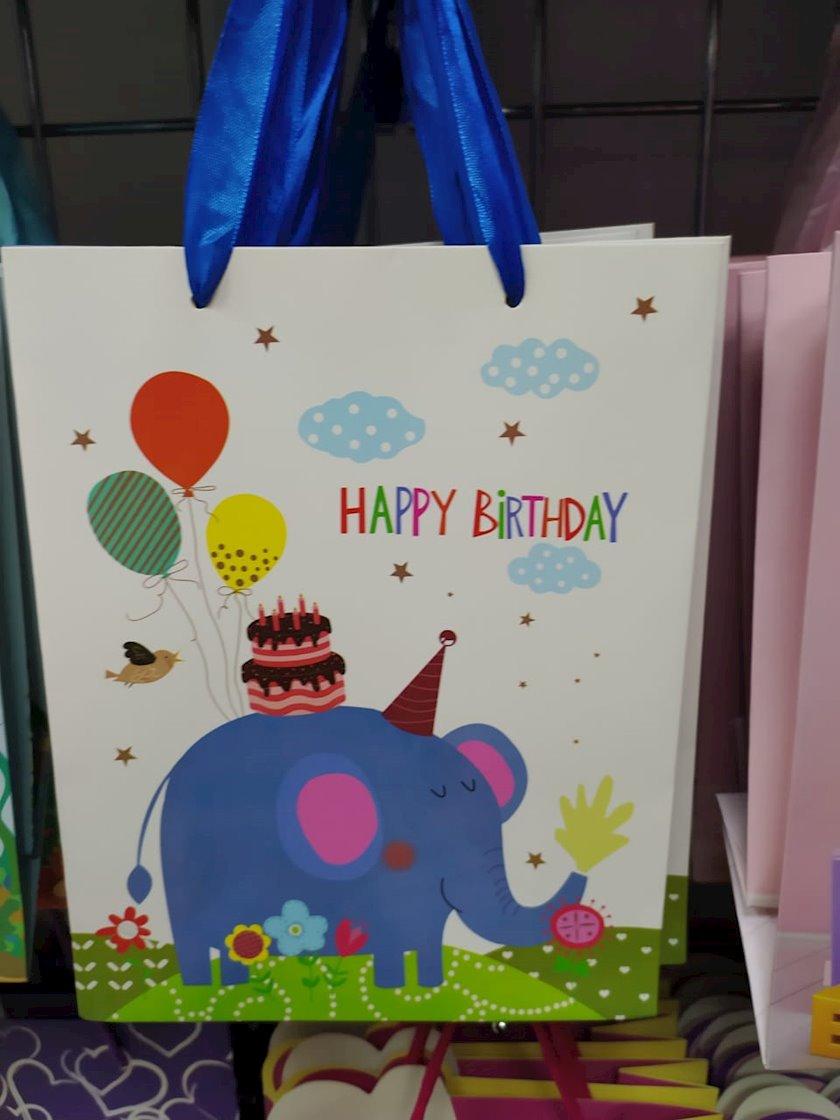 """Hədiyyəlik paket """"Happy Birthday!"""",fil şəkili ilə"""