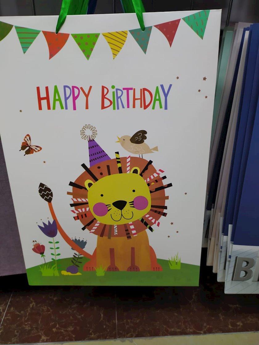 """Hədiyyəlik paket """"Happy Birthday!"""",aslan şəkili ilə"""