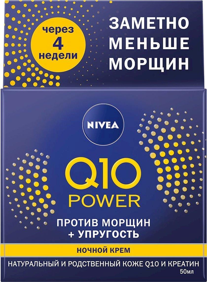 Üz üçün gecə kremi Nivea Q10 Power Bərpaedici Qırışlara qarşı, 50 ml