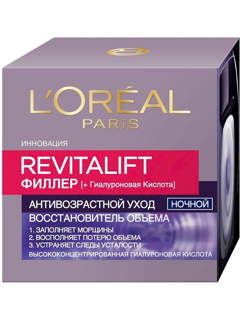 Gecə kremi Loreal Paris Revitalift Filler Yaş əleyhinə qulluq, 50 ml