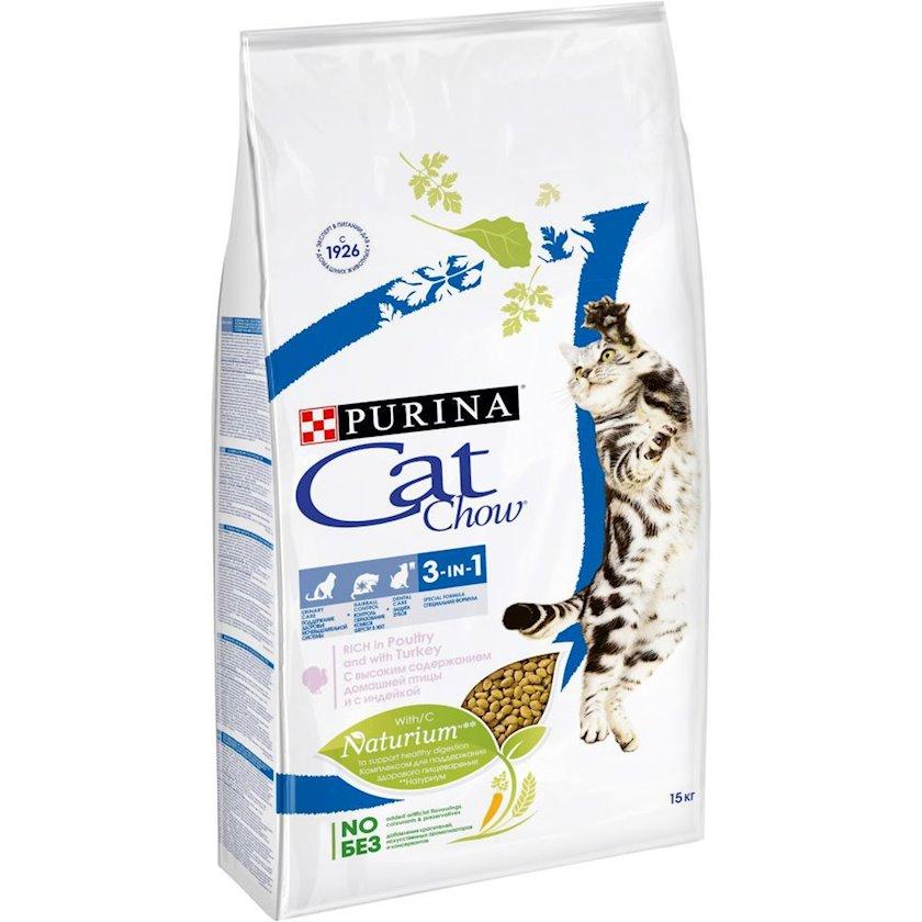 Quru yem Purina Cat Chow Feline 3-ü 1-də yüksək tərkibli ev quşu hinduşka ilə 15 kq