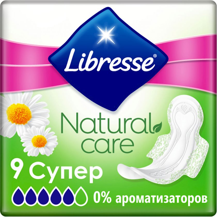 Gigiyenik bezlər Libresse Natural Care Ultra Clip Super, 9 əd
