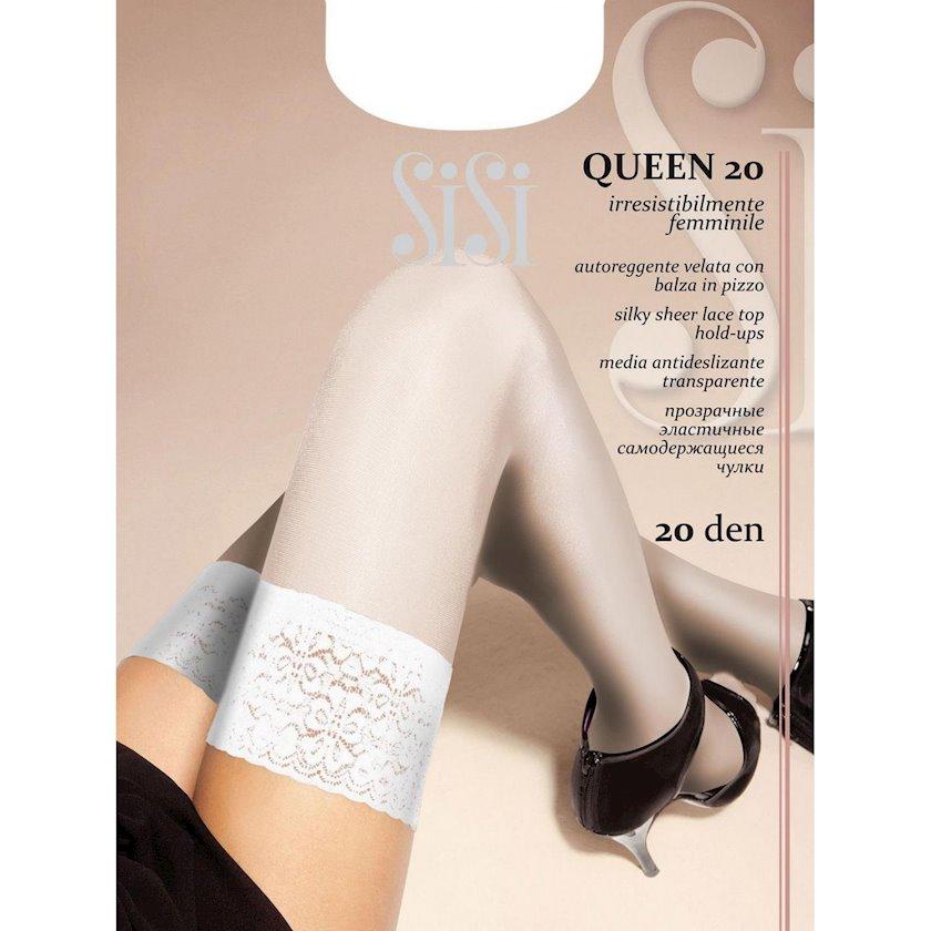 Uzun corab Sisi Queen Autoreggente, 20den, ölçü 2(S), Bianco, ağ