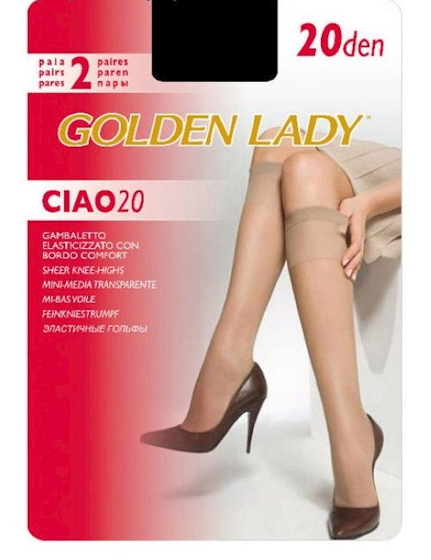 Qolfi Golden Lady Ciao, 20 den, One size, 2 cüt, Nero, qara