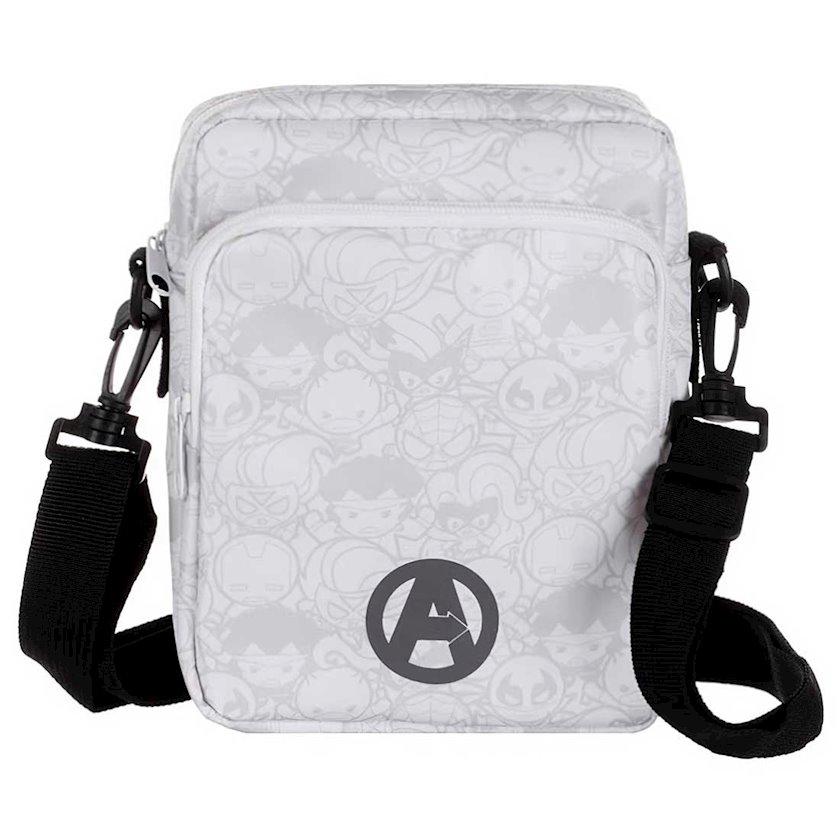 Kişi çantası Miniso Marvel Crossbody Bag White Black, ağ